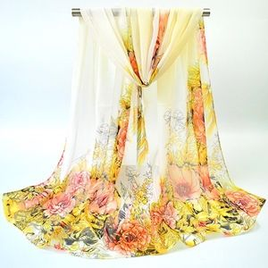 Accessories - Hand-painted Flowers Bloom Scarf